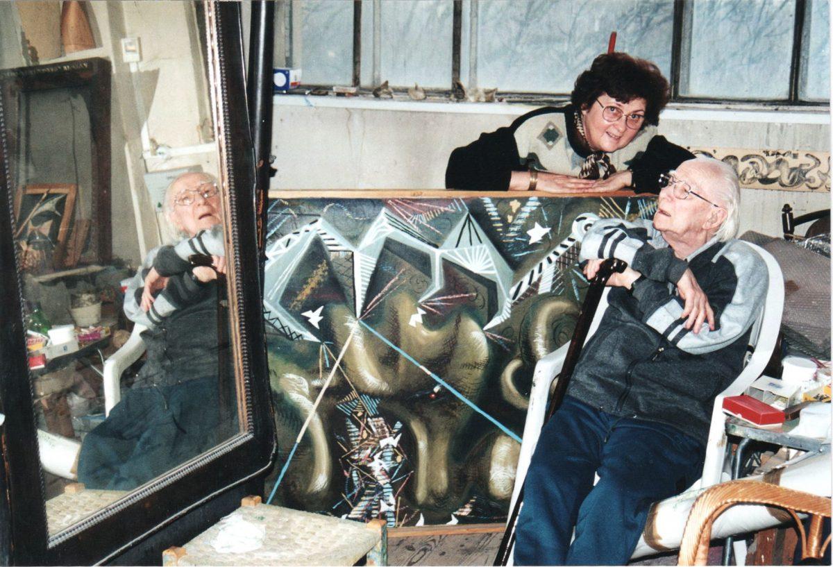 L.T. második feleségével, Pál Édával a műteremben <br/> <b>Készítette:</b>Hoffmann