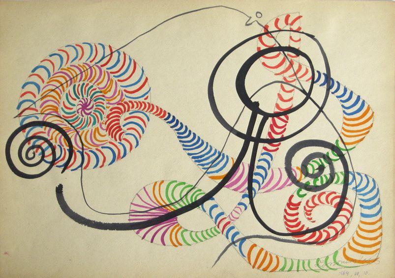 G00067(10)<br/> <b>Cím:</b> Cím nélkül <br/> <b>Méret cm:</b> 30,7X43 <br/> <b>Készült:</b> 1964. <br/> <b>Technika:</b> akvarell<br/>