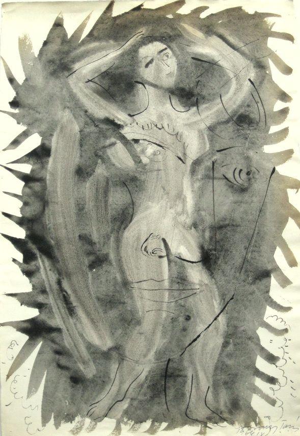 G00133(10)<br/> <b>Cím:</b> Cím nélkül <br/> <b>Méret cm:</b> 47,1X32,2 <br/> <b>Készült:</b> 1966. <br/> <b>Technika:</b> akvarell<br/>