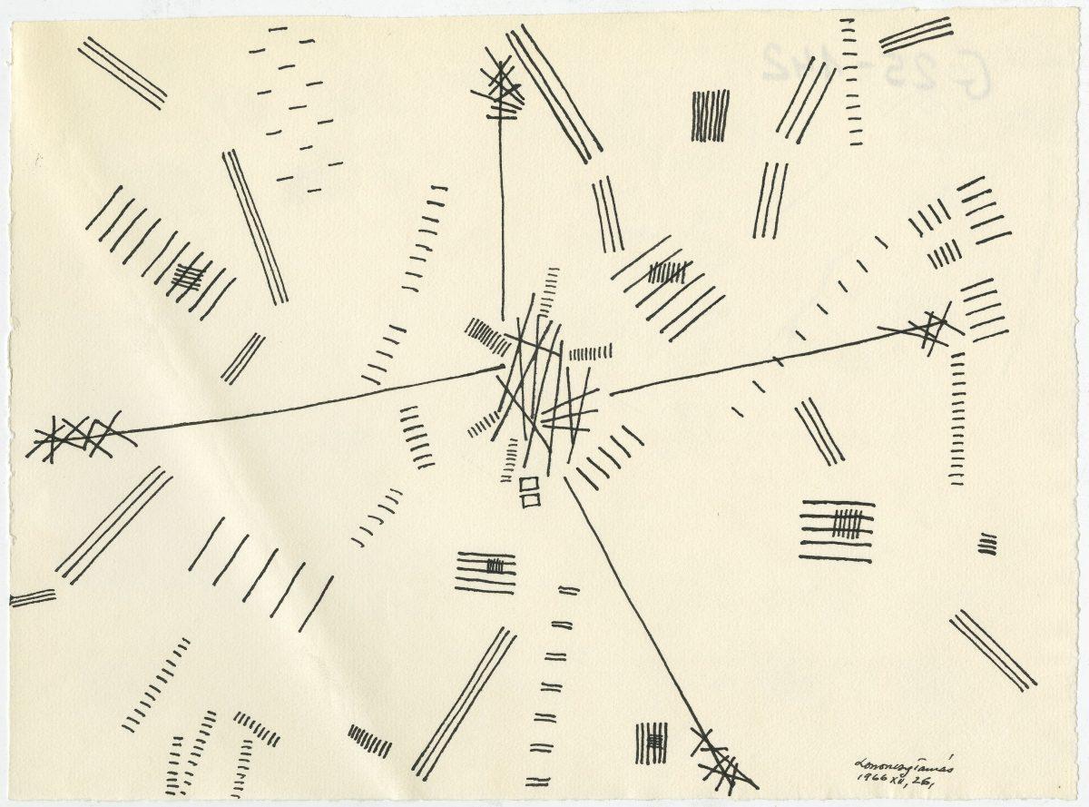 G00142(25)<br/> <b>Cím:</b> Cím nélkül <br/> <b>Méret cm:</b> 23,5X32,3 <br/> <b>Készült:</b> 1966. <br/> <b>Technika:</b> tus<br/>