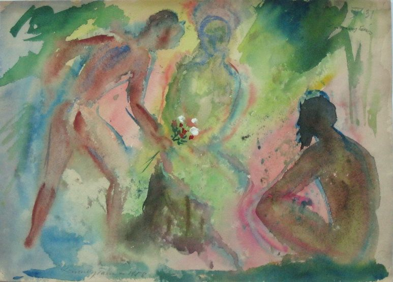 G00149(11)<br/> <b>Cím:</b> Cím nélkül <br/> <b>Méret cm:</b> 30,4X42,6 <br/> <b>Készült:</b> 1959. <br/> <b>Technika:</b> akvarell<br/>