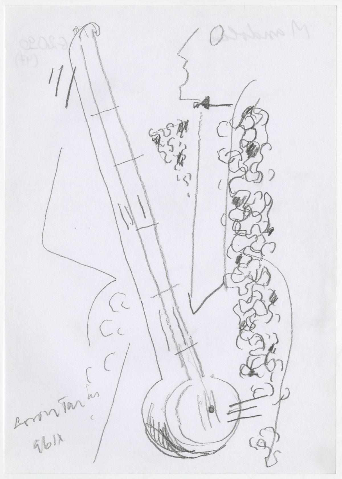 G02090(47)<br/> <b>Cím:</b> Mandolin <br/> <b>Méret cm:</b> 29,8X21,0 <br/> <b>Készült:</b> 1996. <br/> <b>Technika:</b> ceruza<br/>