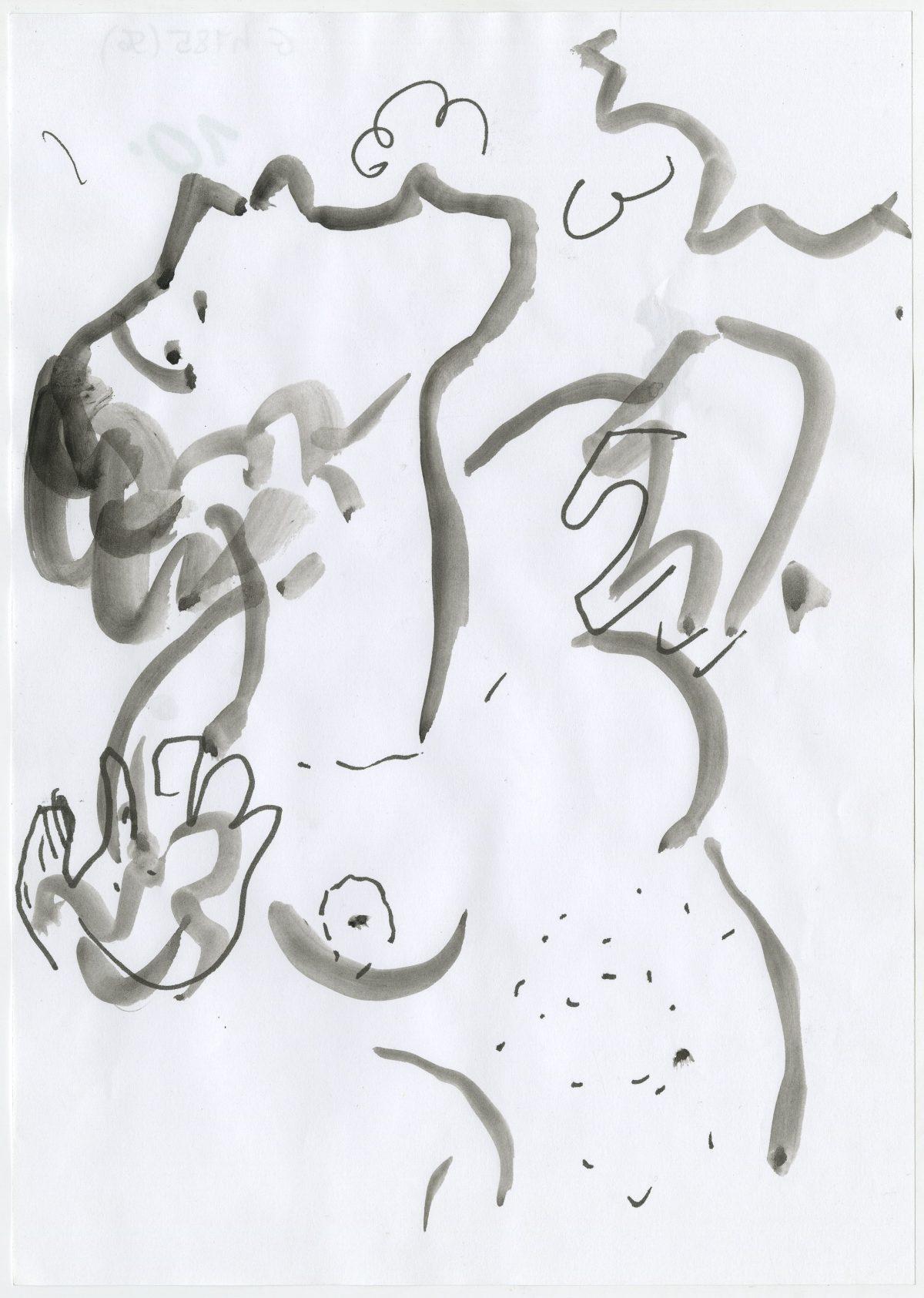 G04785(56)<br/> <b>Cím:</b> Átkozott és áldott életbe a művészet oly sokszor visszahozott <br/> <b>Méret cm:</b> 21X29,6 <br/> <b>Készült:</b> 2001. <br/> <b>Technika:</b> tus<br/>