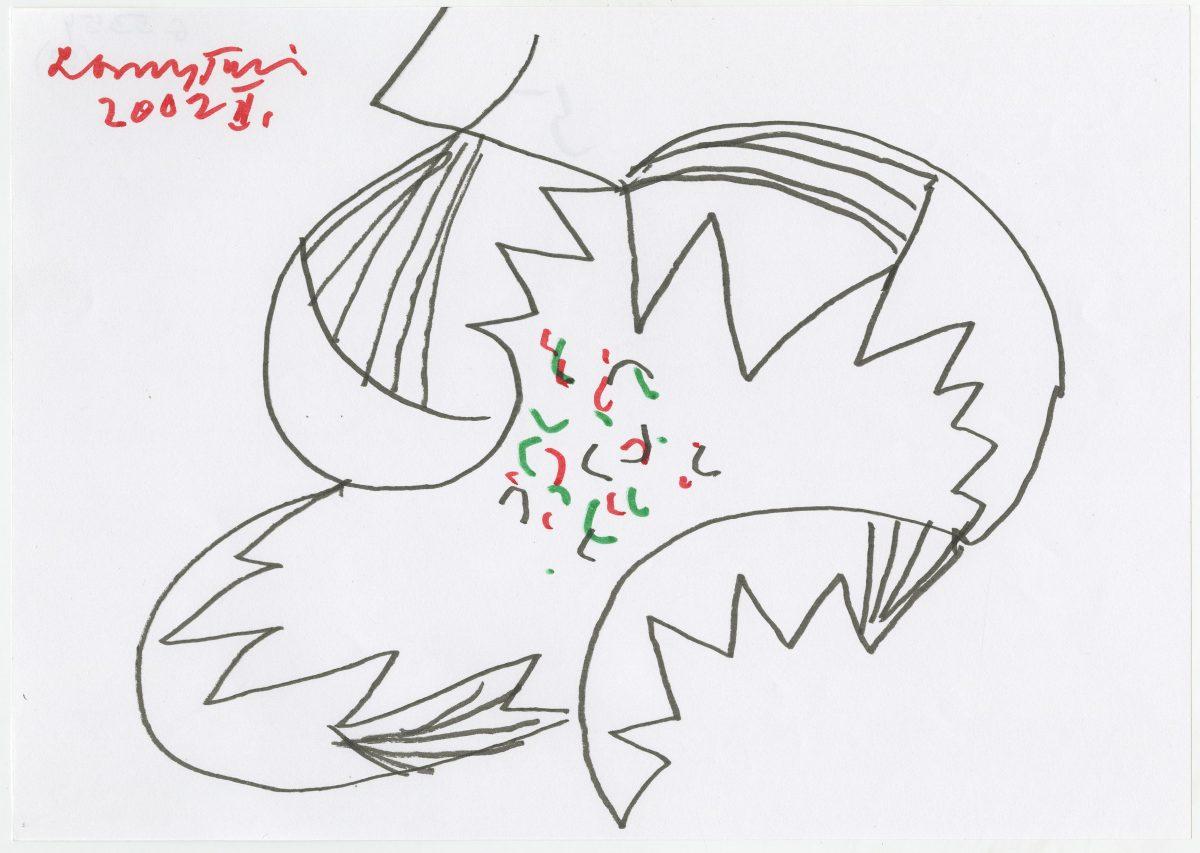 G05354(59)<br/> <b>Cím:</b> Boldogságot erőt adjál nekünk művészet <br/> <b>Méret cm:</b> 21X29,6 <br/> <b>Készült:</b> 2002. <br/> <b>Technika:</b> filc<br/>