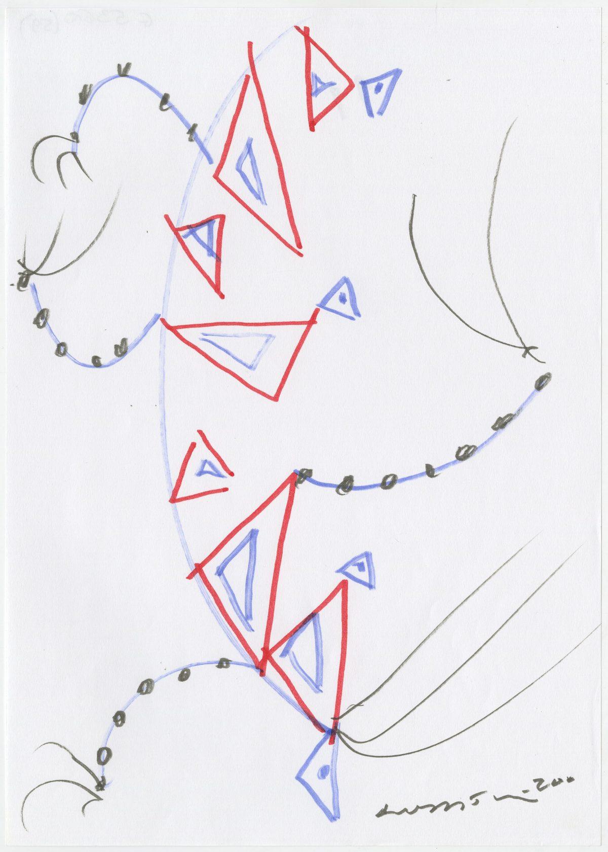 G05360(59)<br/> <b>Cím:</b> Boldogságot erőt adjál nekünk művészet <br/> <b>Méret cm:</b> 29,6X21 <br/> <b>Készült:</b> 2002. <br/> <b>Technika:</b> filc<br/>