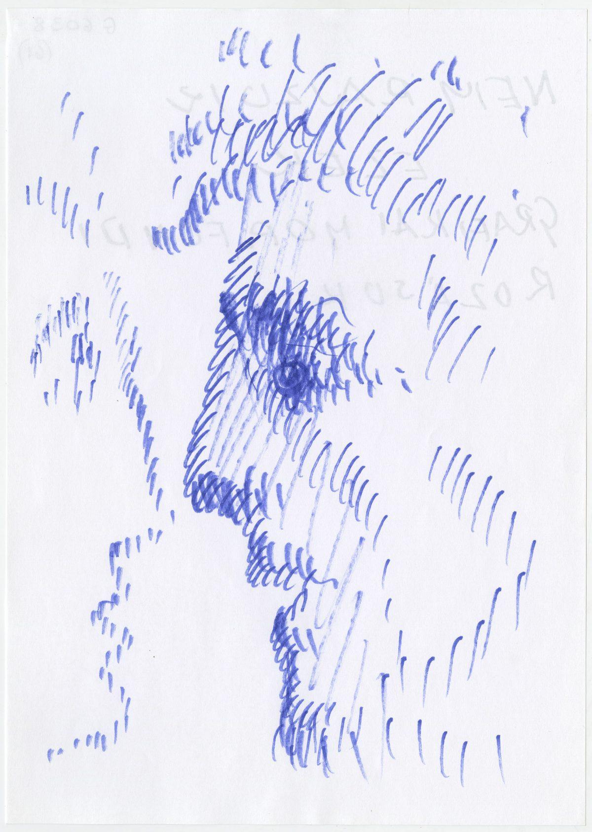 G06038(61)<br/> <b>Cím:</b> Ma éjjel ezt … ; Nem rajzok ezek grafikai … <br/> <b>Méret cm:</b> 29,6X21 <br/> <b>Készült:</b> 2002. <br/> <b>Technika:</b> filc<br/>