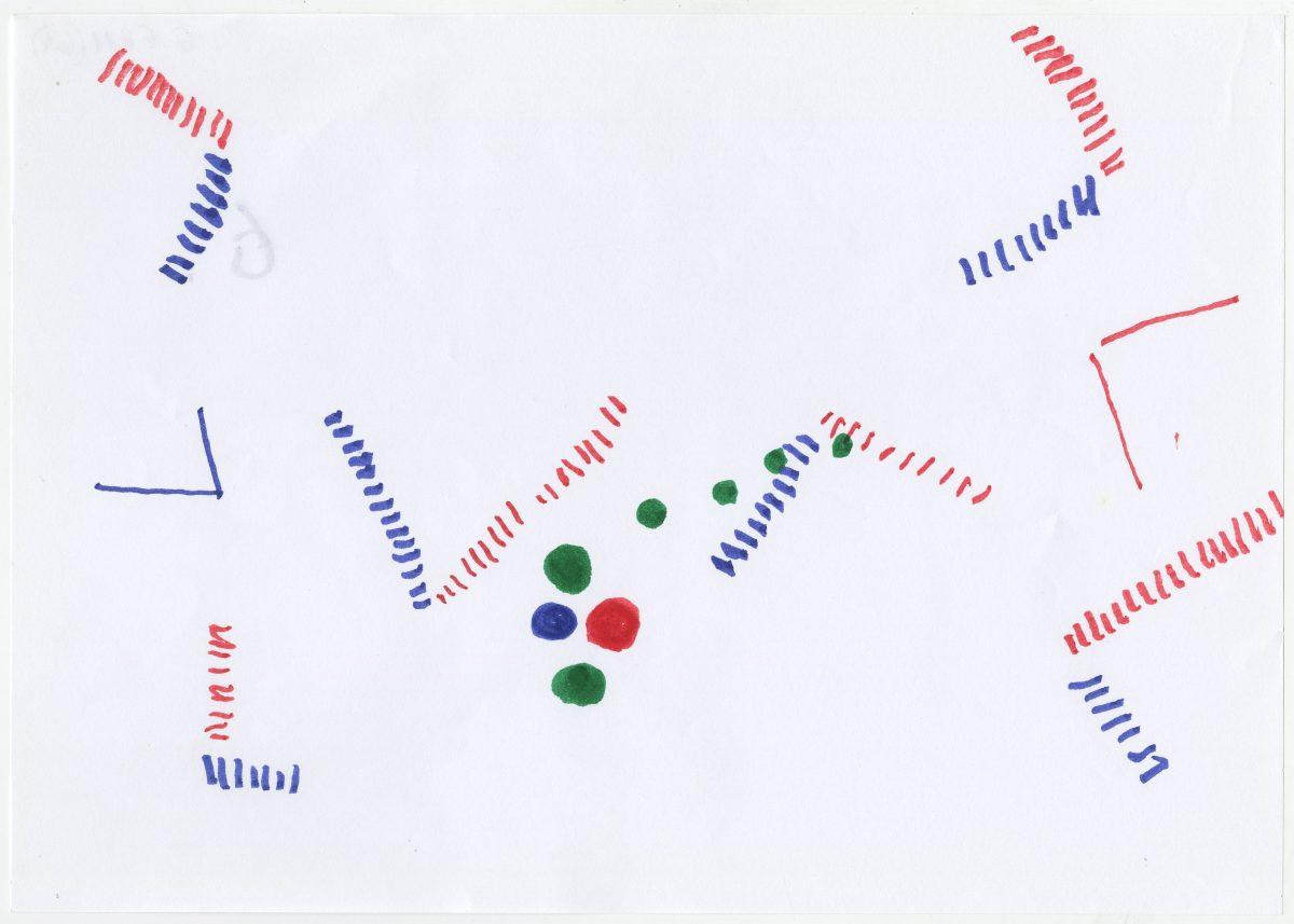 G06211(61)<br/> <b>Cím:</b> Gondolat menet … <br/> <b>Méret cm:</b> 21x29,6 <br/> <b>Készült:</b> 2002. <br/> <b>Technika:</b> filc<br/>