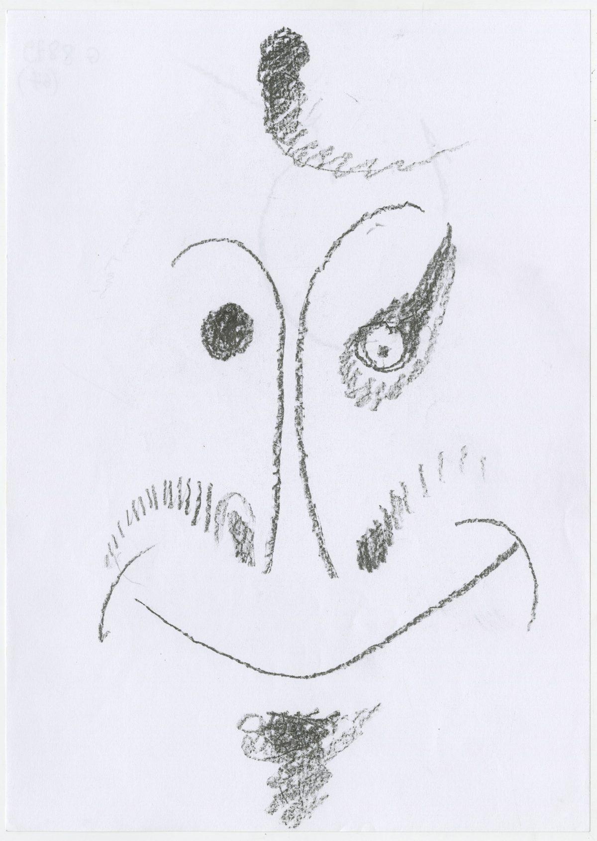 G08879(67)<br/> <b>Cím:</b> Tamás jelenti Kóciából … <br/> <b>Méret cm:</b> 29,6X21 <br/> <b>Készült:</b> 2003. <br/> <b>Technika:</b> ceruza<br/>
