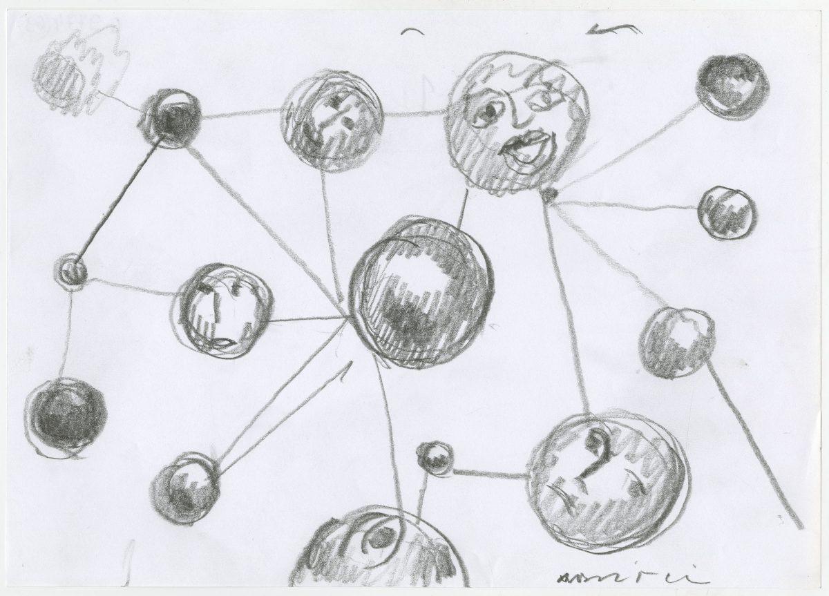 G09774(69)<br/> <b>Cím:</b> Nyakig a komplexumokban <br/> <b>Méret cm:</b> 21X29,6 <br/> <b>Készült:</b> 2003. <br/> <b>Technika:</b> ceruza<br/>