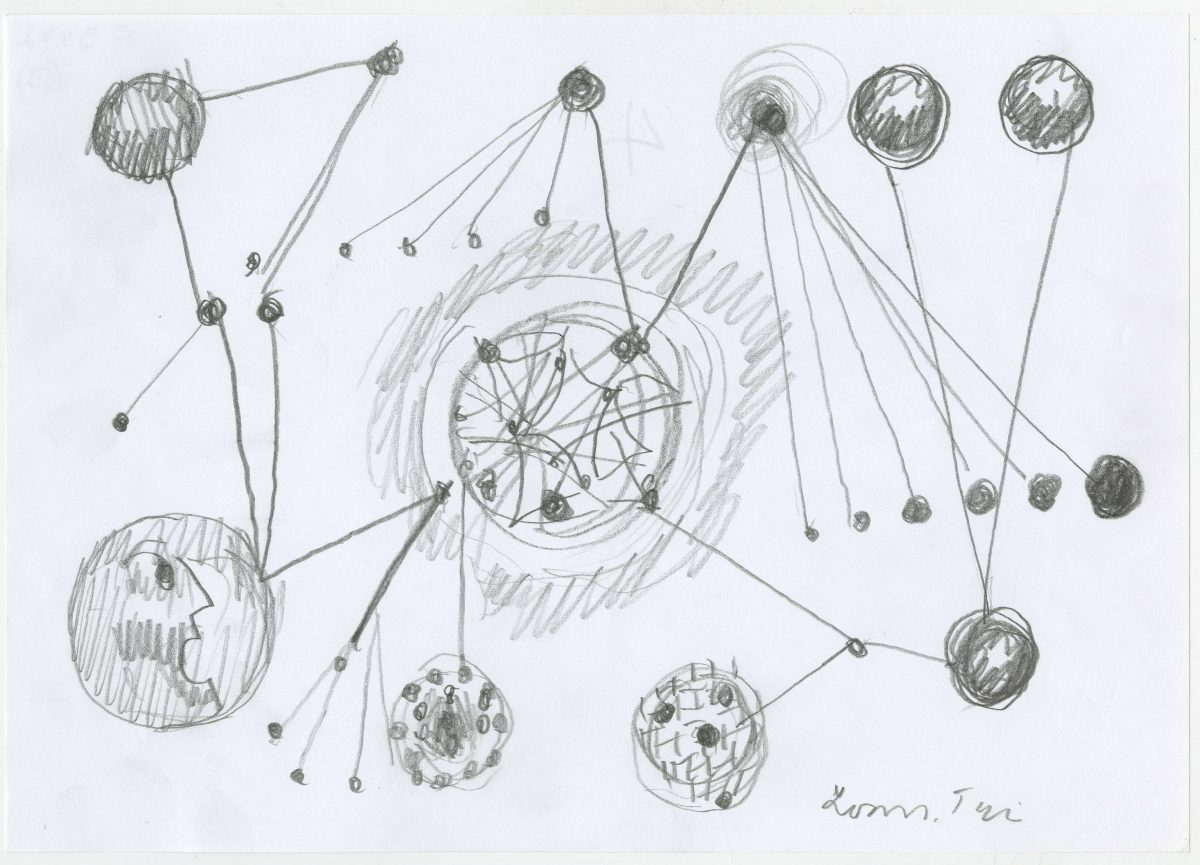G09777(69)<br/> <b>Cím:</b> Nyakig a komplexumokban <br/> <b>Méret cm:</b> 21X29,6 <br/> <b>Készült:</b> 2003. <br/> <b>Technika:</b> ceruza<br/>