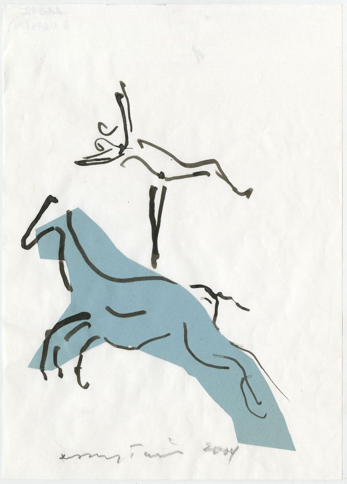 G11671(74)<br/> <b>Cím:</b> Hopp lovak lovak <br/> <b>Méret cm:</b> 29,6X21 <br/> <b>Készült:</b> 2004. <br/> <b>Technika:</b> tus, kollázs<br/>