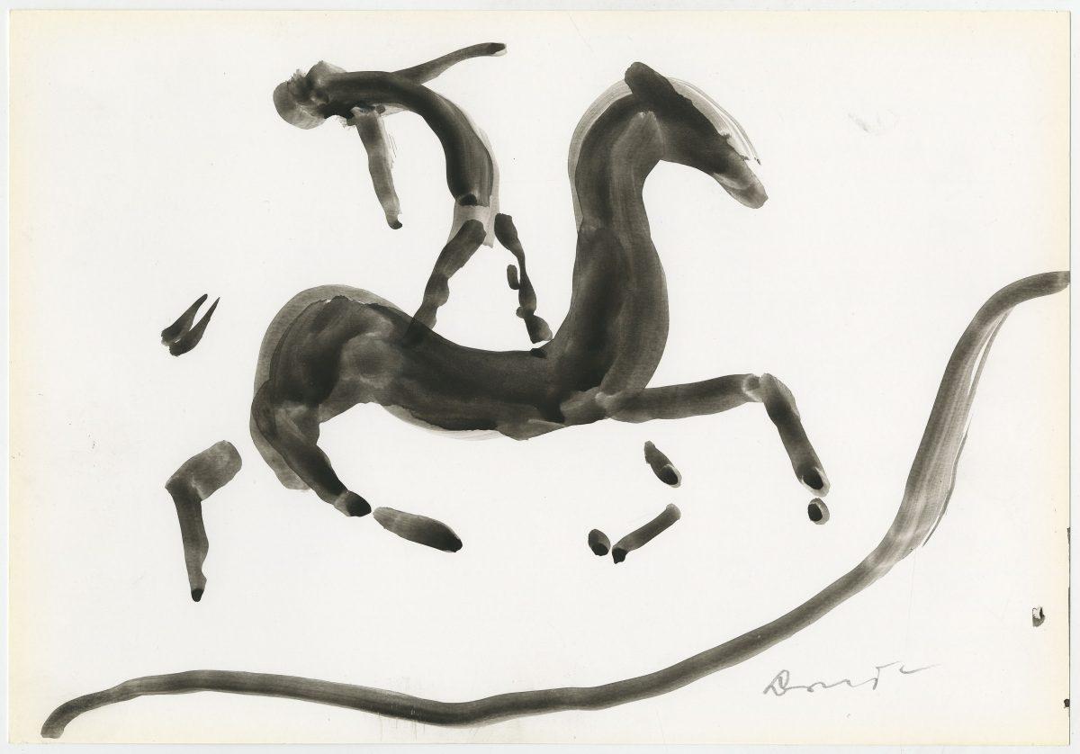 G12515(76)<br/> <b>Cím:</b> Ló és ló … <br/> <b>Méret cm:</b> 21x29,6 <br/> <b>Készült:</b> 2004. <br/> <b>Technika:</b> gouache<br/>