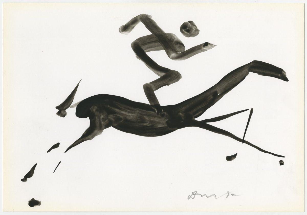 G12518(76)<br/> <b>Cím:</b> Ló és ló … <br/> <b>Méret cm:</b> 21x29,6 <br/> <b>Készült:</b> 2004. <br/> <b>Technika:</b> gouache<br/>