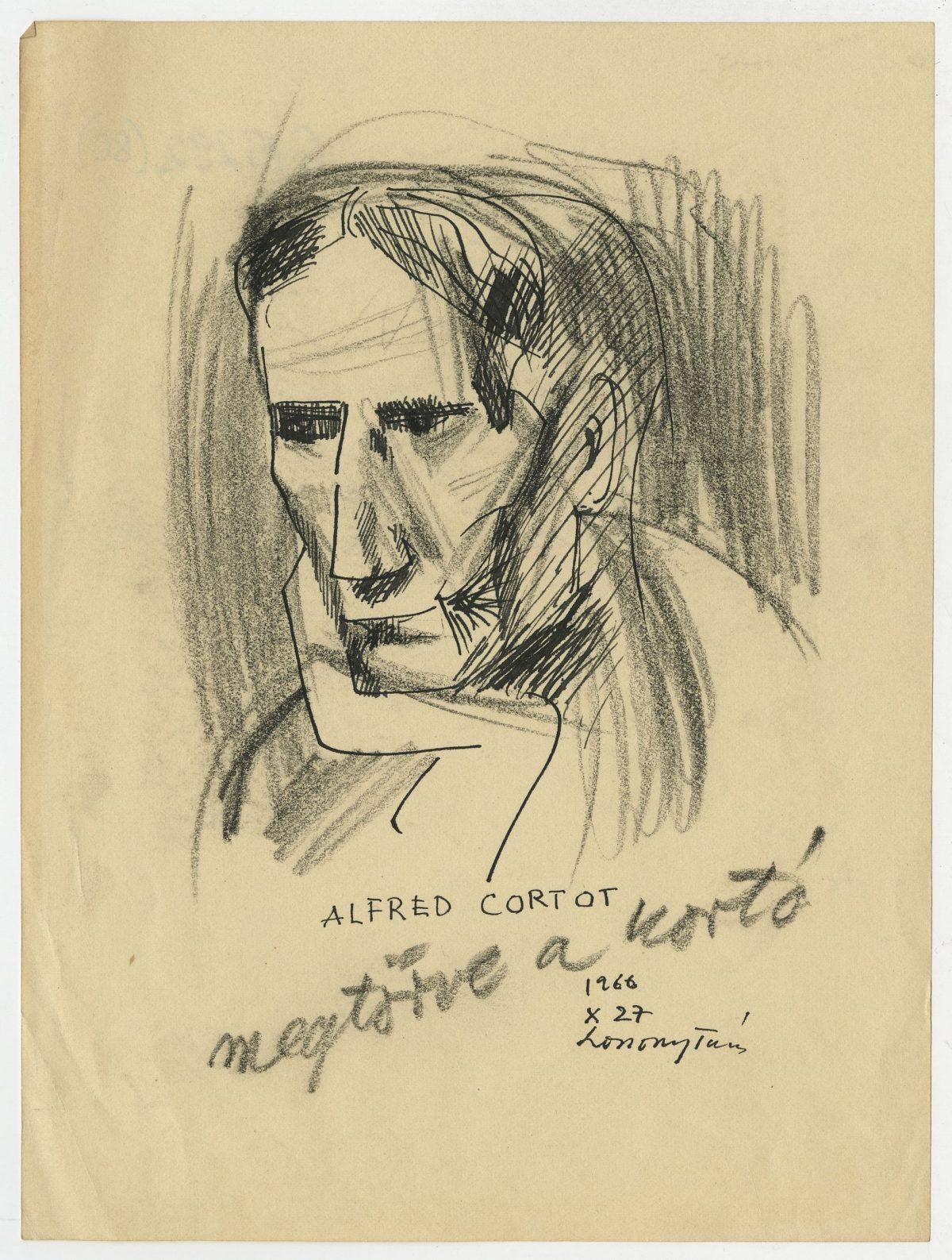 G15292(80)<br/> <b>Cím:</b> Alfred Cortot megtörve a kortó <br/> <b>Méret cm:</b> 21,1x15,7 <br/> <b>Készült:</b> 1966. <br/> <b>Technika:</b> tus, ceruza<br/>