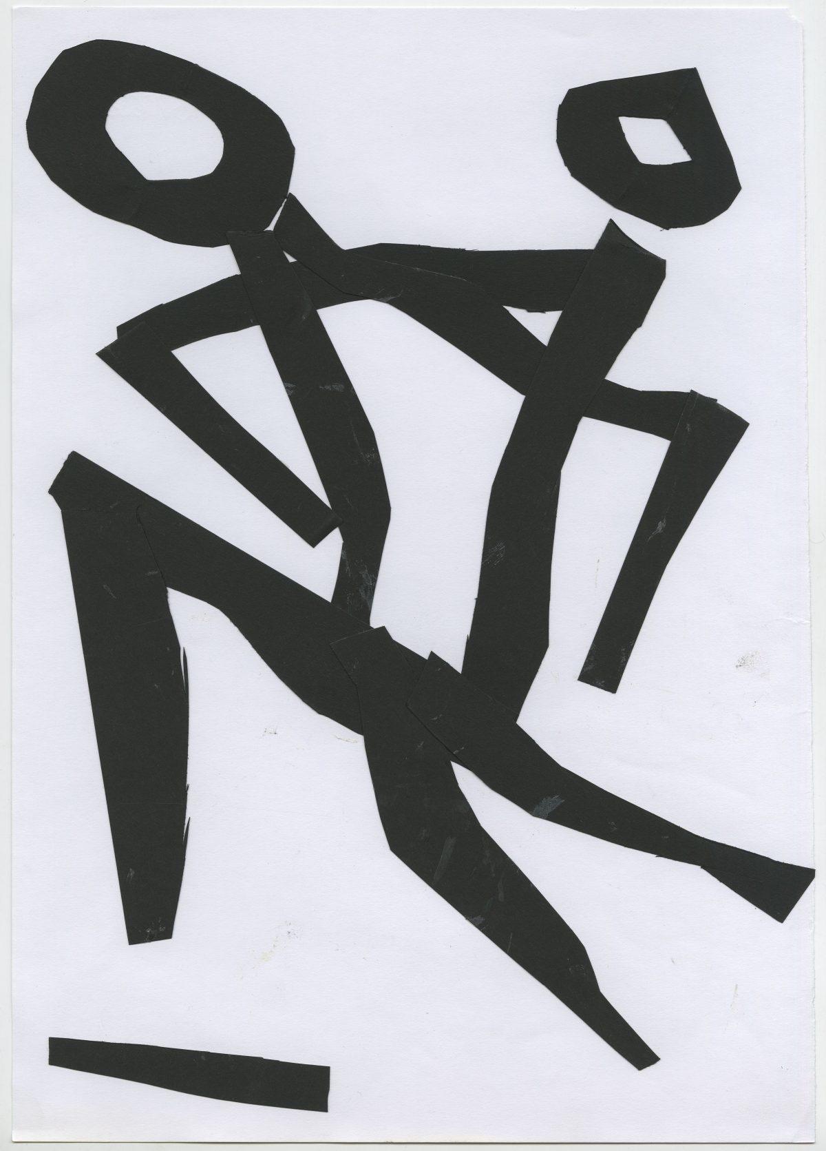 G15698(84)<br/> <b>Cím:</b> A tánc = tánc halál élet tánc <br/> <b>Méret cm:</b> 42X29,9 <br/> <b>Készült:</b> 2005. <br/> <b>Technika:</b> kollázs<br/>