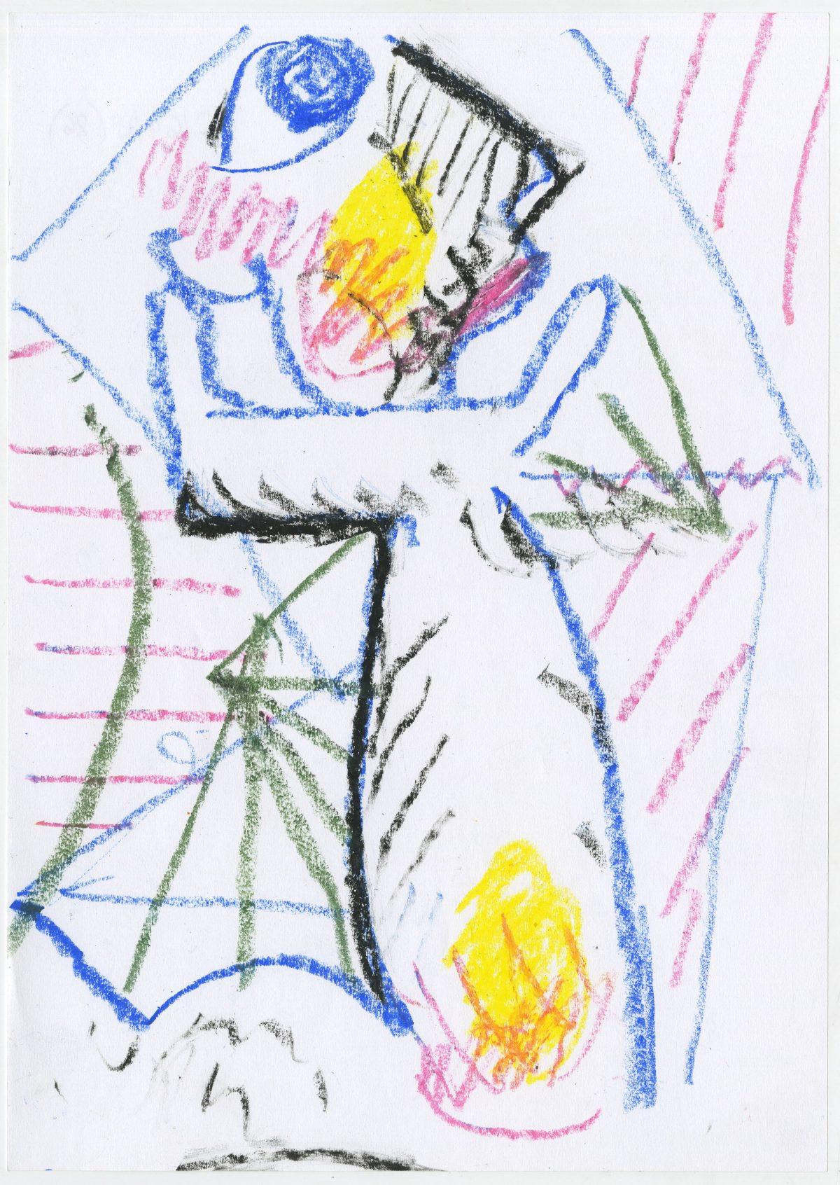 G16428(86)<br/> <b>Cím:</b> Magam is korunk gyermeke vagyok … <br/> <b>Méret cm:</b> 29,7x21 <br/> <b>Készült:</b> 2005. <br/> <b>Technika:</b> pasztell<br/>