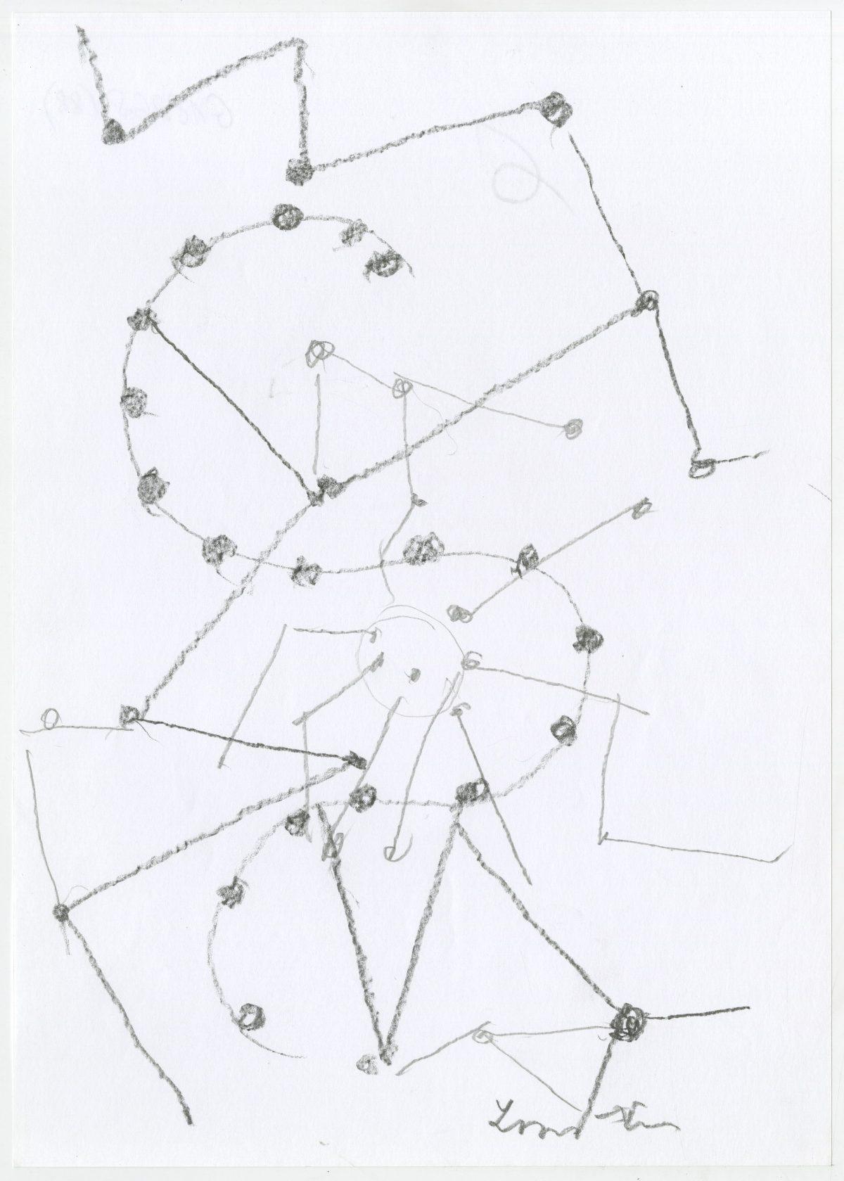 G18268(88)<br/> <b>Cím:</b> Megnyílt az ég tizenhárom felé <br/> <b>Méret cm:</b> 29,6x21 <br/> <b>Készült:</b> 2006. <br/> <b>Technika:</b> ceruza<br/>