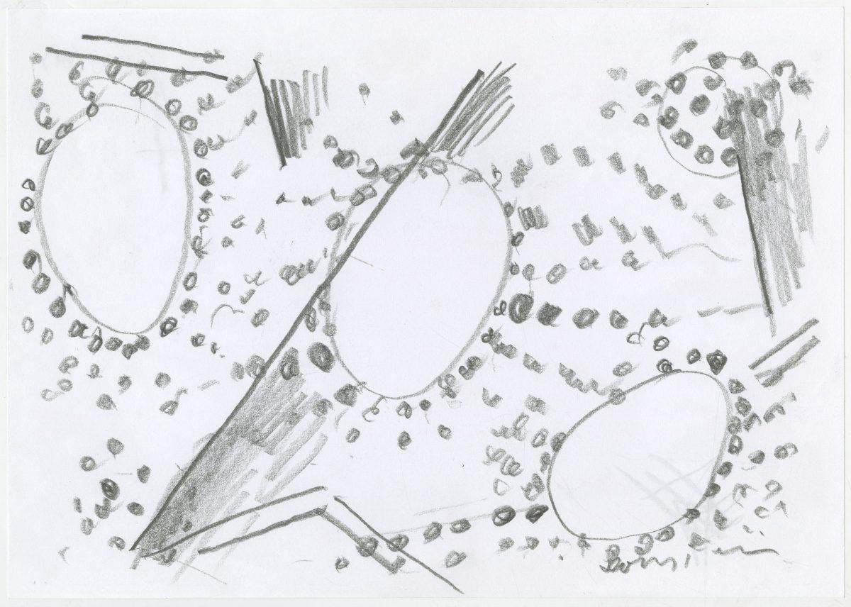 G19819(91)<br/> <b>Cím:</b> A nagy semm[i]ben rejlő minden faggatása <br/> <b>Méret cm:</b> 21x29,6 <br/> <b>Készült:</b> 2006. <br/> <b>Technika:</b> ceruza<br/>