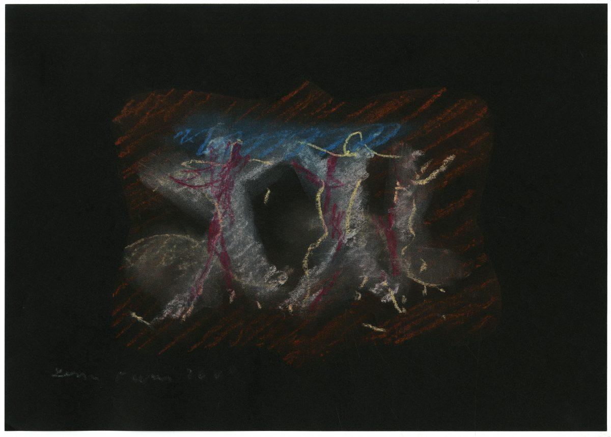 G24268(97)<br/> <b>Cím:</b> Jöjj Ossián ködös homályos énekeddel <br/> <b>Méret cm:</b> 21x29,8 <br/> <b>Készült:</b> 2007. <br/> <b>Technika:</b> pittkréta<br/>