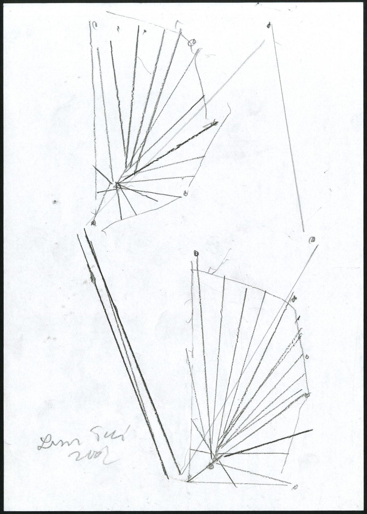 G24343(97)<br/> <b>Cím:</b> Egy csengetés visszhangja <br/> <b>Méret cm:</b> 29,8X21 <br/> <b>Készült:</b> 2007. <br/> <b>Technika:</b> ceruza<br/>