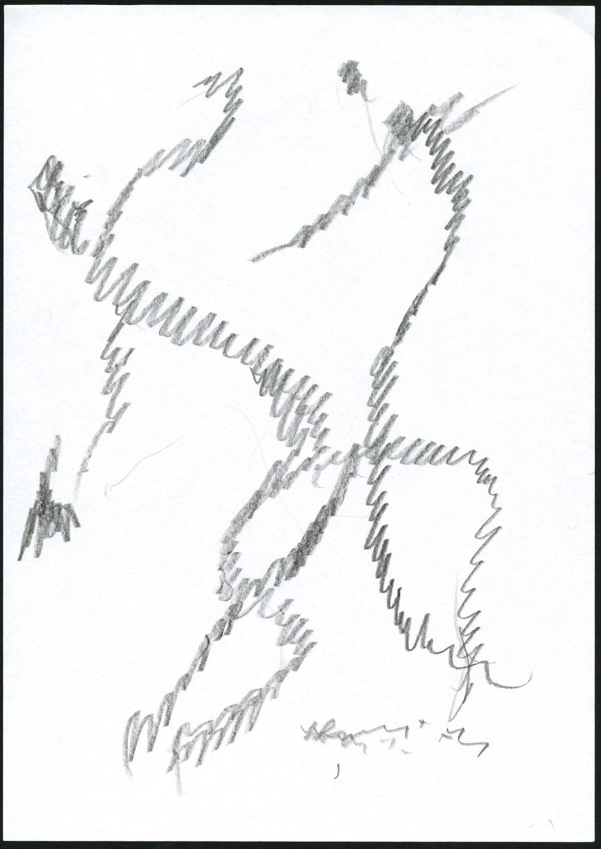 G24939(98)<br/> <b>Cím:</b> Lázálom vándorokról <br/> <b>Méret cm:</b> 29,8x21 <br/> <b>Készült:</b> 2007. <br/> <b>Technika:</b> ceruza<br/>