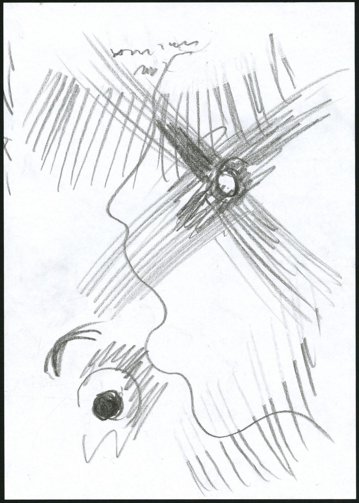 G26693(101)<br/> <b>Cím:</b> Ezt már láttam, már hallottam <br/> <b>Méret cm:</b> 29,8x21 <br/> <b>Készült:</b> 2007. <br/> <b>Technika:</b> ceruza<br/>