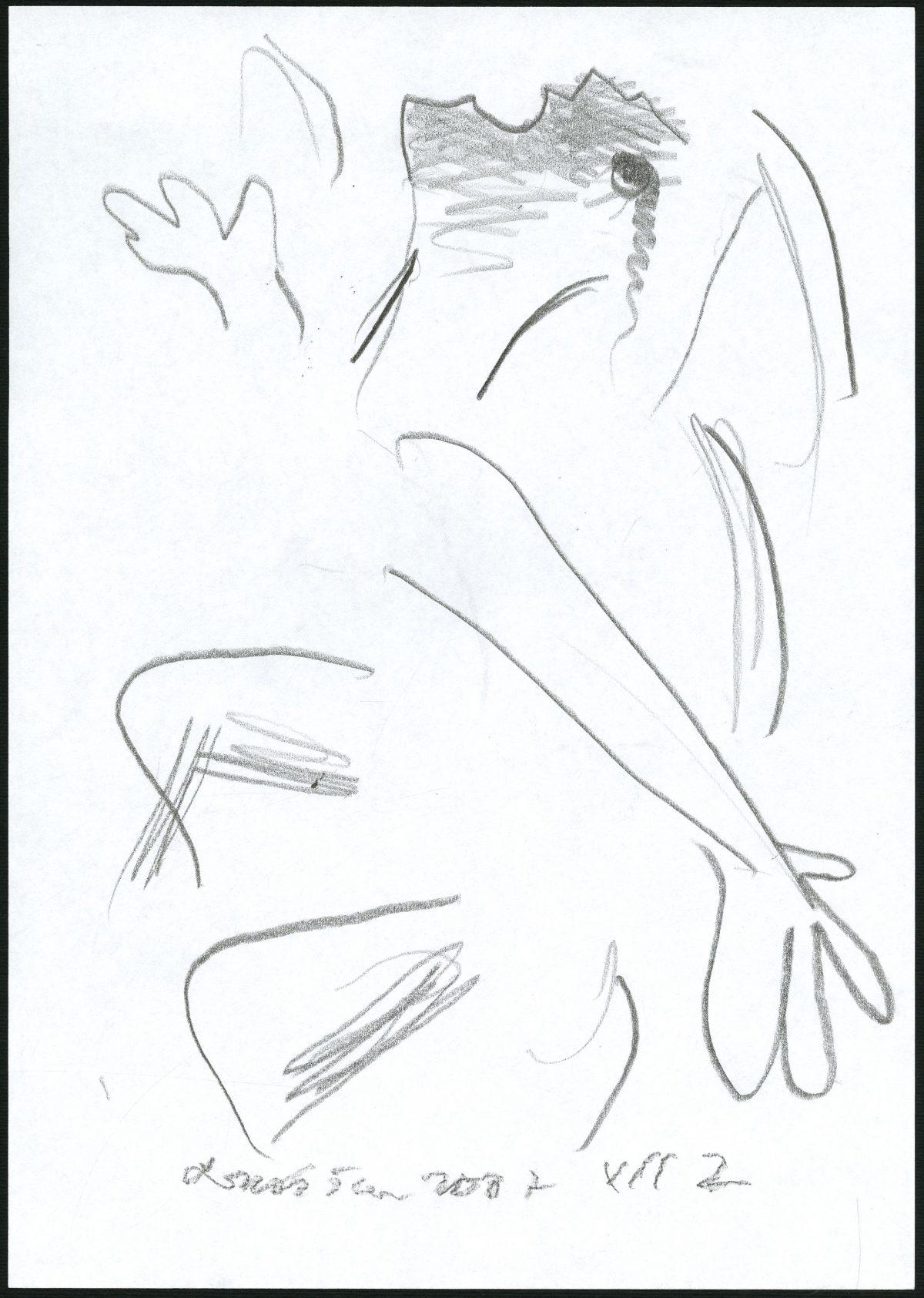 G27317(103)<br/> <b>Cím:</b> Dal az emberről <br/> <b>Méret cm:</b> 29,8x21 <br/> <b>Készült:</b> 2007. <br/> <b>Technika:</b> ceruza<br/>