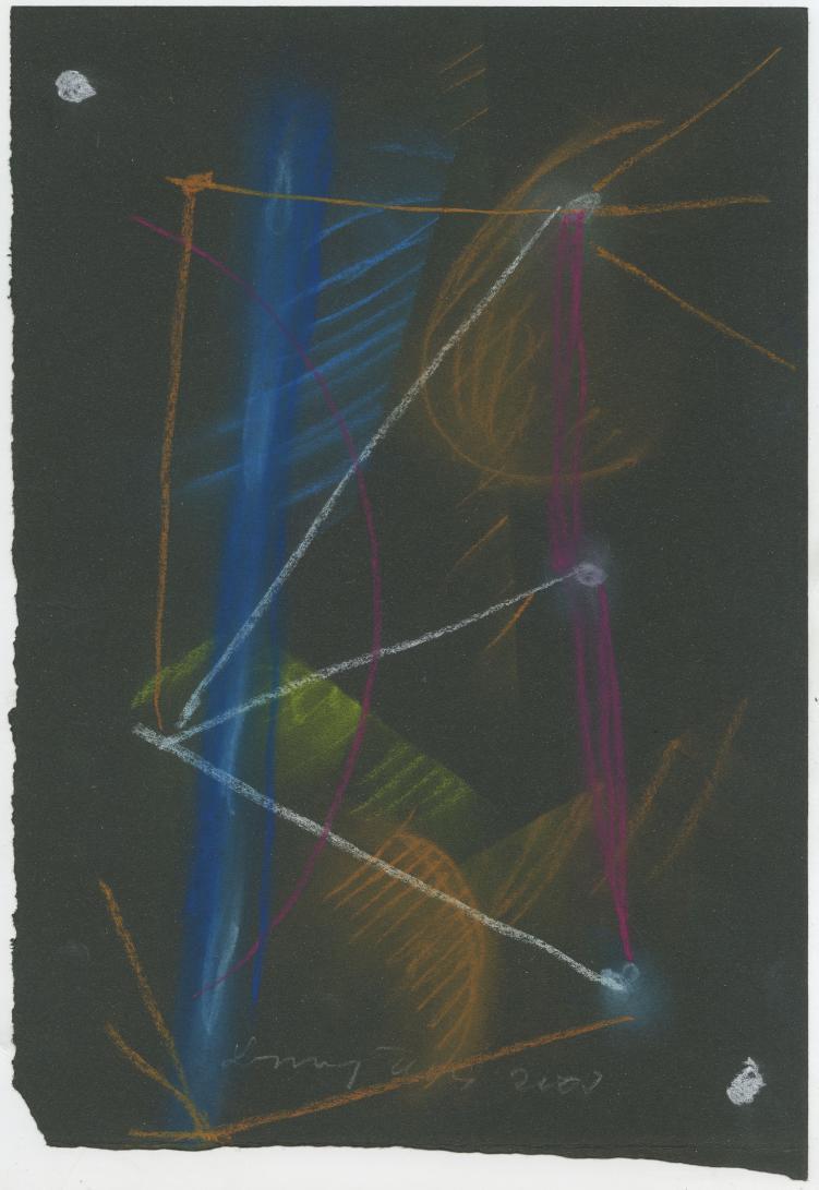 G29244(92)<br/> <b>Cím:</b> Egy éjszaka fényei <br/> <b>Méret cm:</b> 35x24,7 <br/> <b>Készült:</b> 2007. <br/> <b>Technika:</b> pittkréta<br/>