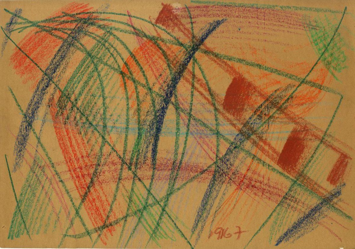 G36408(126)<br/> <b>Cím:</b> Cím nélkül <br/> <b>Méret cm:</b> 30,2x43,3 <br/> <b>Készült:</b> 1967. <br/> <b>Technika:</b> pasztell<br/>