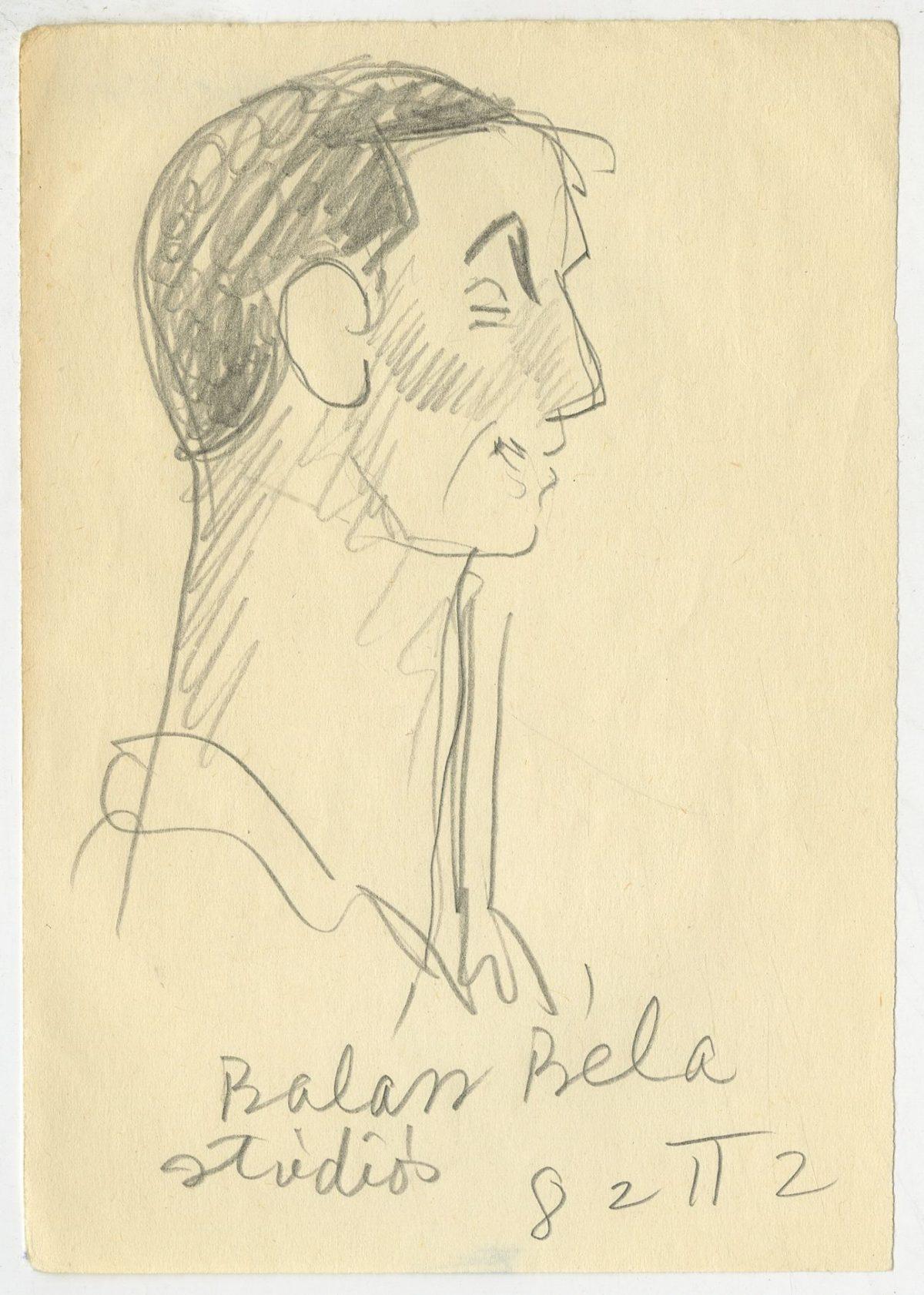 G41260(134)<br/> <b>Cím:</b> Balázs Béla stúdiós <br/> <b>Méret cm:</b> 14,8x10,4 <br/> <b>Készült:</b> 1982. <br/> <b>Technika:</b> ceruza<br/>