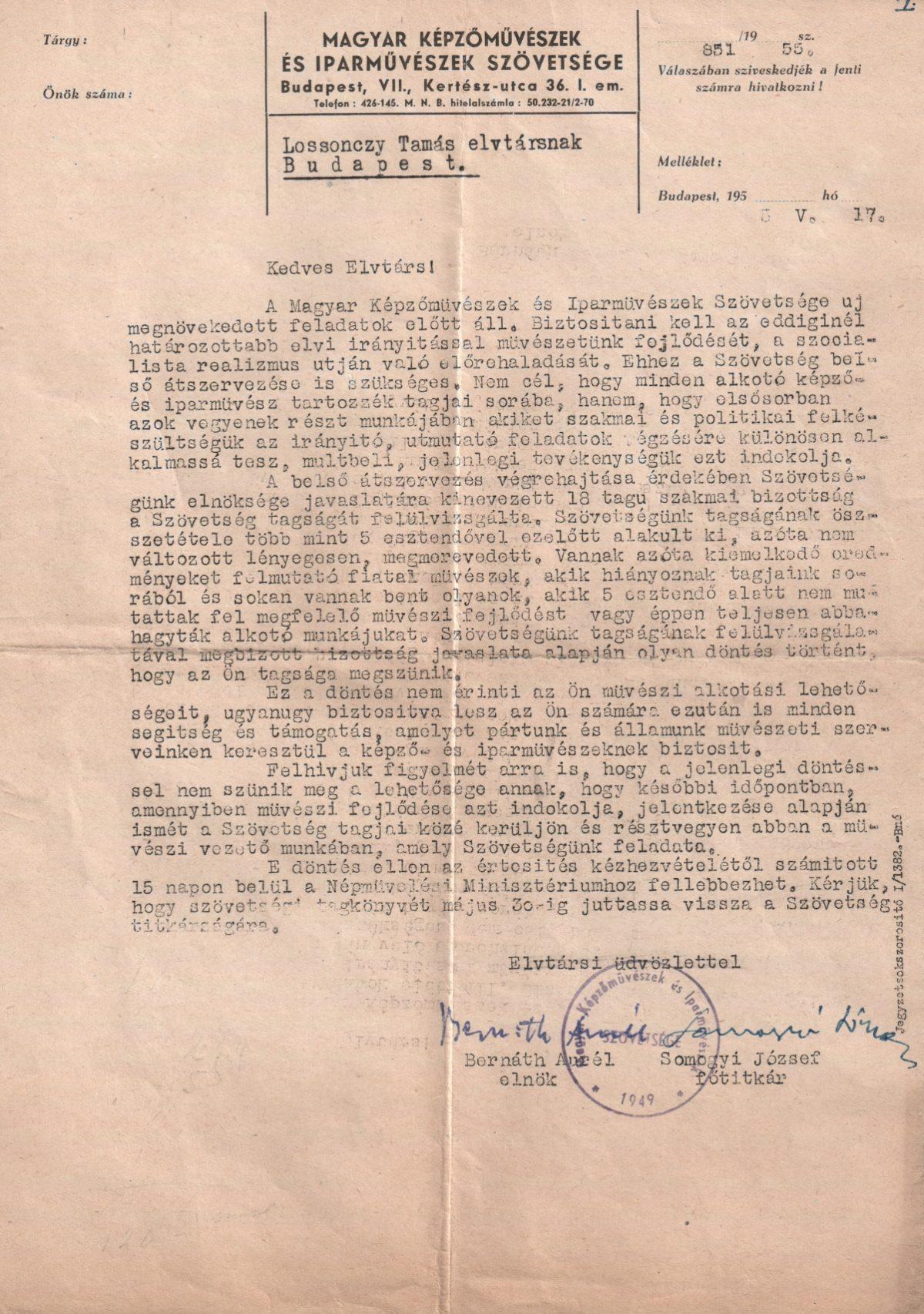 1955-05-17 Magyar Képzőművészek és Iparművészek Szövetsége, Értesítés a tagság megszünéséről