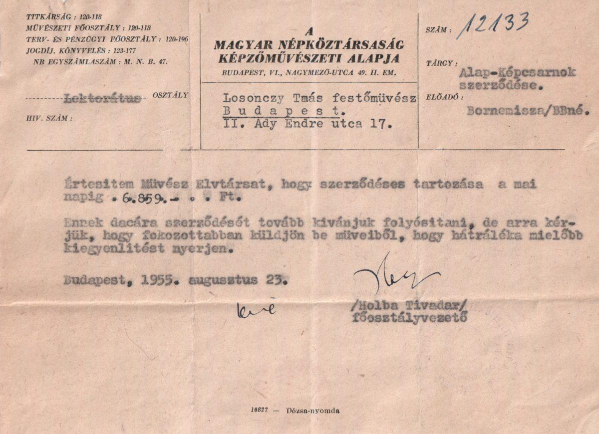 1955-08-23 Magyar Népköztársaság Képzőművészeti Alapja