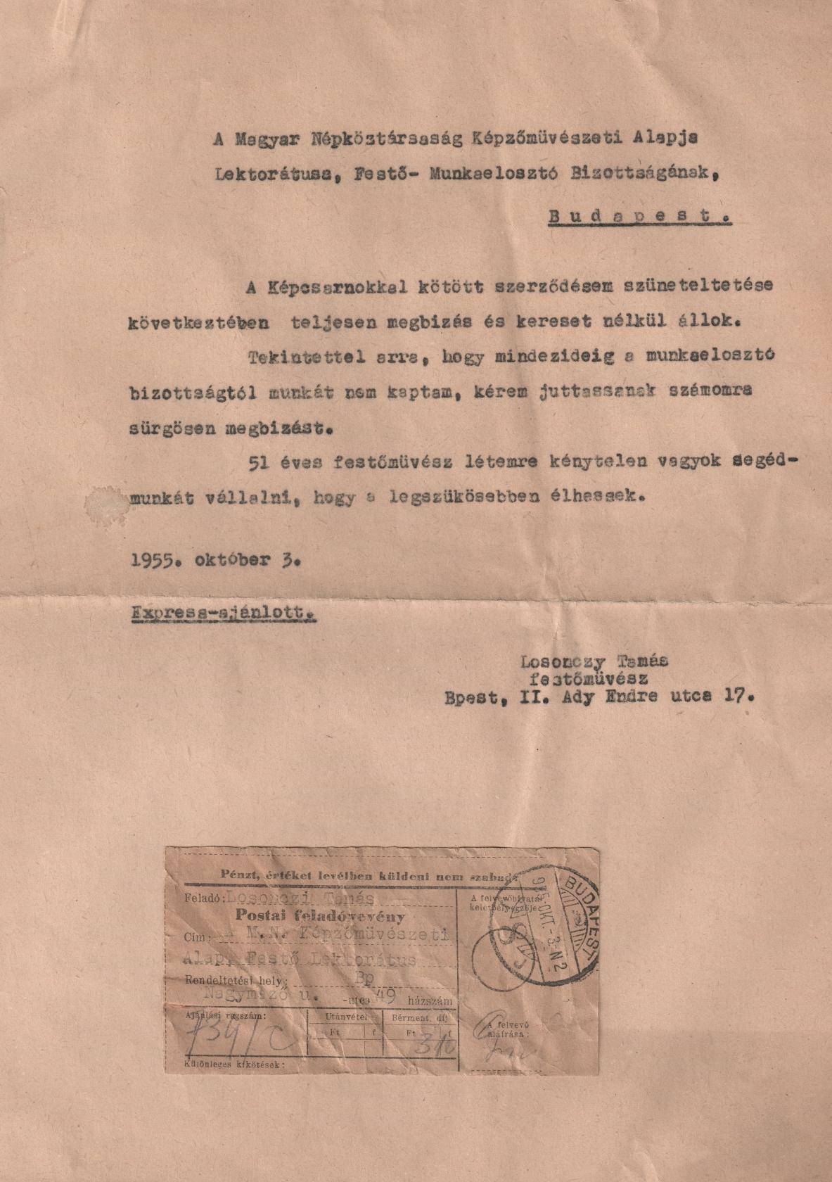 1955-10-03 L.T. Magyar Népköztársaság Képzőművészeti Alapjának, Megbízás kérése