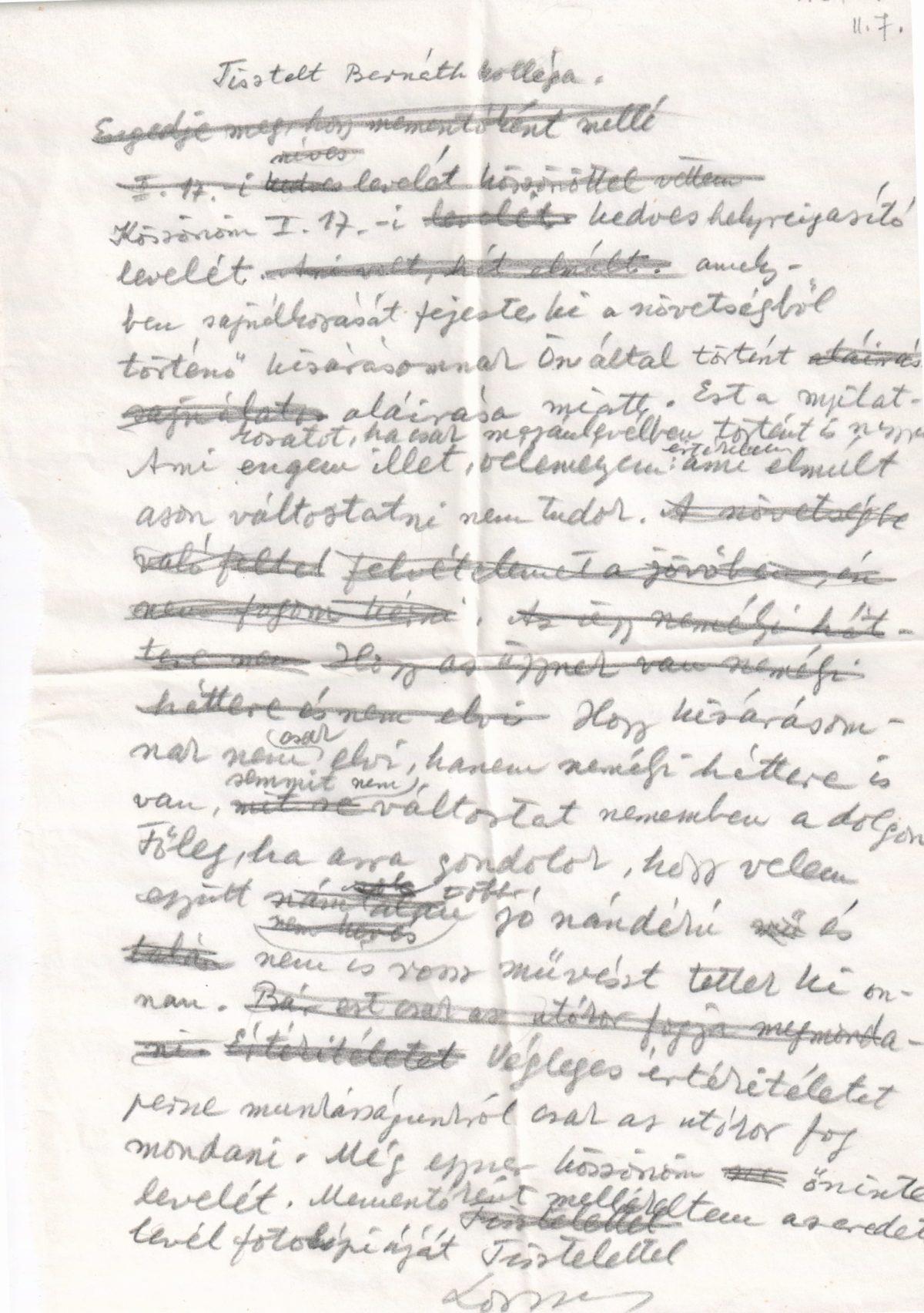 1971-02-07 L.T. Bernáth Aurélnak