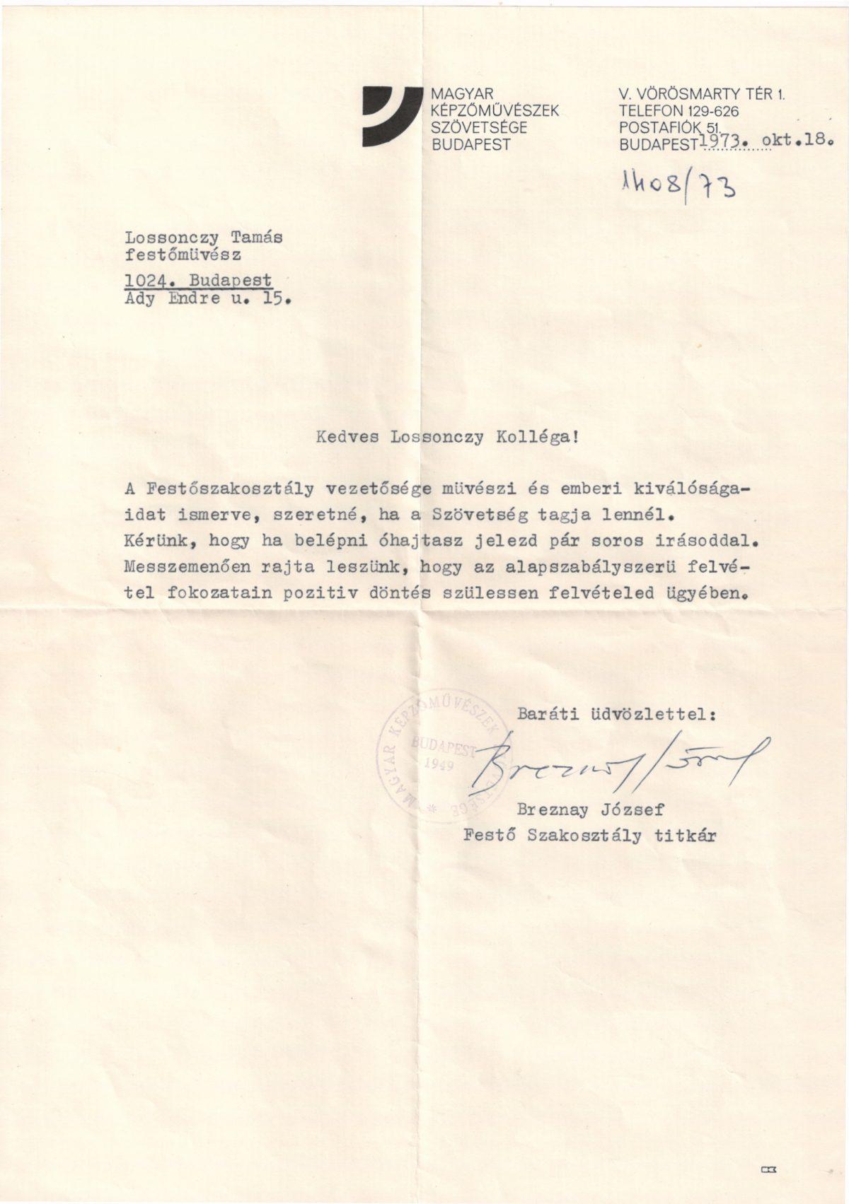 1973-10-18 Magyar Képzőművészek Szövetsége